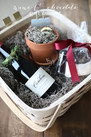 wine chocolate gift basket with a molten lava cake kit recipe