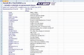 Formato De Lista De Precios Listas De Precios M V Slovakia