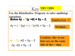 use the distributive property to solve multistep equations solve 4y