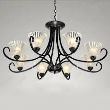 black wrought iron transpa glass shade 8 light chandeliers