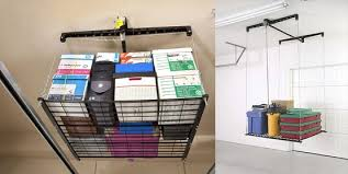 the garage overhead storage ideas of rack cable-lifted storage type by