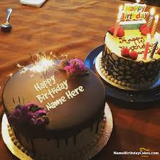 beautiful happy birthday chocolate cake with candles. Delighful Candles Write Name On Fireworks Candles Chocolate Cake For Happy Birthday Picture With Beautiful C