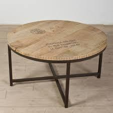 wooden hardwood round iron coffee build industrial furniture