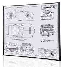 lamborghini miura p400 sv by engraved blueprint art choice gear shop owner engraved blueprint art