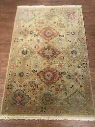 details about obeetee oriental rug handmade in india pure wool 3 6 x5 6 gold green