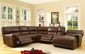 homelegance blythe leather sectional reclining sofa in warm brown
