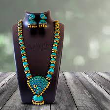 necklace designer terracotta jewelry peacock design