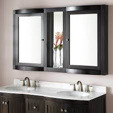 Double Mirrored Bathroom Cabinet Curved Wall Mirror On Light Gray Painted Bathroom Above Cream