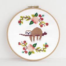 Modern Cross Stitch Patterns Adorable Lazy Day Sloth Cross Stitch Pattern Stitched Modern