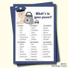 Police What's In Your Purse Baby Shower Game- Blue Police Theme ...
