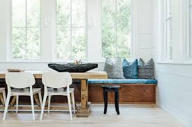 scandinavian design furniture ideas wooden chair. Pattern Blue Banquette Scandinavian Style White Wooden Chairs Black Stools  Gray Striped Cushion Light Woode Flooring Scandinavian Design Furniture Ideas Wooden Chair