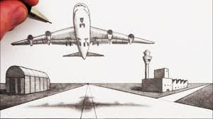 Airplane Drawing How To Draw An Airplane And Airport In 2 Point Perspective Youtube