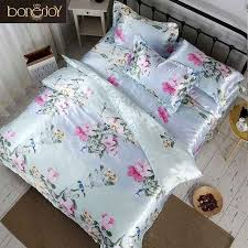 bonenjoy satin silk bed linen china silk bedding sets queen king size fl printed duvet cover twin bedcloth summer bed sheets
