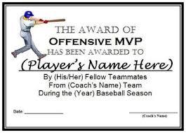 Baseball Awards Certificates 9 Different Awards