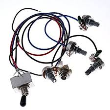 top quality guitar wiring harness prewired 2v2t 3way toggle switch top quality guitar wiring harness prewired 2v2t 3way toggle switch jack 500k pots for gibson replacement