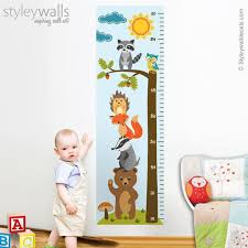 Baby Height Wall Chart Forest Animals Growth Chart Wall Decal Kids Room Growth