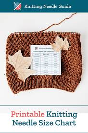 Printable Knitting Needle Size Conversion Chart In Us Uk
