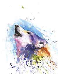 wolf watercolor painting artist eric sweet