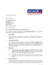 Sample Employment Offer Letter Template Job Offer Letter Template Malaysia Listed Appointment Sample