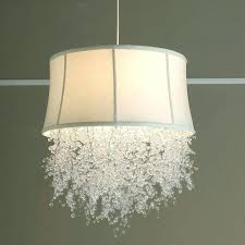 drum shade crystal chandelier white ceiling silver