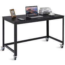 Wood and metal computer desk Shaped Desk Costway Rolling Computer Desk Wood Top Metal Frame Laptop Table Study Workstation Black Amazoncom Costway Costway Rolling Computer Desk Wood Top Metal Frame Laptop