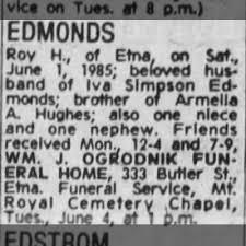 Obituary for Roy H. EDMONDS - Newspapers.com
