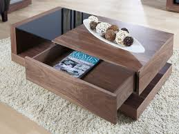 black glass coffee table with drawers
