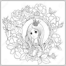 vector young nice in princess crown in the garden of roses outline drawing coloring page coloring book for stock vector