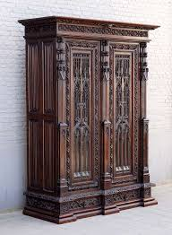 gothic revival oak armoire in the spirit of violettleduc for