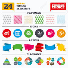Banner Tags Stickers And Chart Graph Cogwheel Gear Icons Mechanism