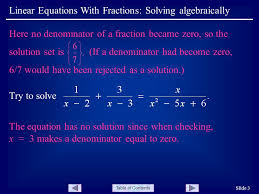 3 table of contents linear equations with fractions solving