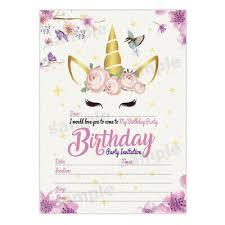 Unicorn Girl Birthday Invitations Girls Party Invites Invite Cards Ebay
