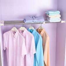 Expandable Closet Tension Shelf <b>Wardrobe Partition Storage Rack</b> ...