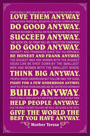 Mother Teresa Quotes Love Anyway Simple Mother Teresa Anyway Purple Quote Poster 48x48 Inch Poster Foundry