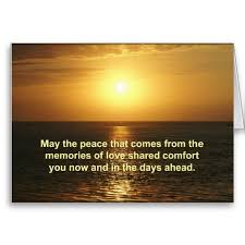 sympathy card orange sunrise text may the peace that es from the memories of love