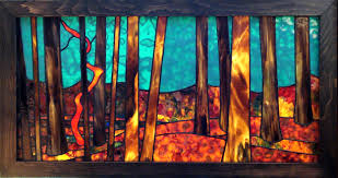 forest for the trees stained glass panel by anne thornton