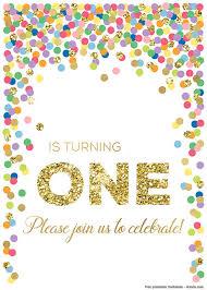 Free Printable 1st Invitation Rainbow Invite Confetti