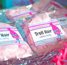 send your guests home with a goo bag of troll hair cotton candy one of the cutest and easiest party ideas ever get similar printable labels from