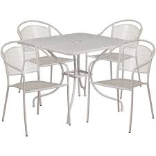 35 5 square light gray indoor outdoor steel patio table set with 4 round