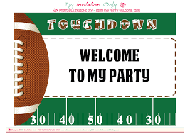 Football Party Invitations Templates Free Printable Welcome Sign Catchmyparty Beautiful Football Party