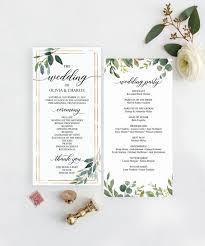 Templates For Wedding Programs Greenery Wedding Programs Template 4x8 Wedding Program Editable Wedding Program Printable Programs Instant Download Garden Greens