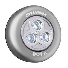 sylvania dot it led battery operated stick on tap light silver 36010 the home depot