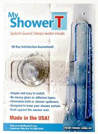 my patent pending splash guard design keeps your shower curtain flush against the shower wall which prevents water from escaping or leaking outside