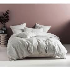 pure linen pale grey bed linen set