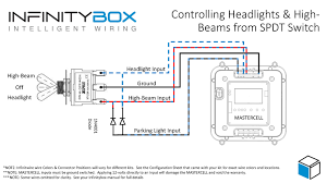 headlights spdt switch • infinitybox this diagram will show you how to wire mastercell inputs to control the headlights and high beams off of this single pole double throw switch