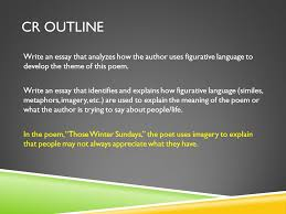 those winter sundays essay cr outline in the poem those winter sundays the poet uses imagery to