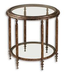 luxe antique gold metal round accent table iron distressed open side end glass