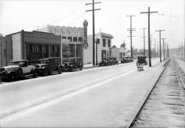 1933 view looking southwest on the 8500 block of santa monica boulevard between san vicente and la cienega boulevards in west hollywood