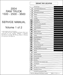 2004 dodge ram 1500 3500 repair shop manual original 2 volume set 2004 dodge ram 1500 headlight wiring diagram table of contents