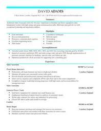 Retail Assistant Cv Examples Uk Jobcoke com